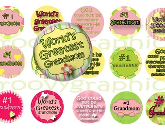 Grandmom 1 inch circles, mothers day circles,  digital download,  bottle cap, digital collage sheet, instant download,  BUY 3 get 1 FREE