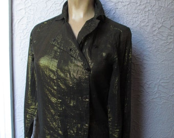 70s Sheer Cotton Metallic Gossamer Top Shirt sm.