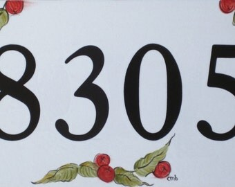 IMPERFECT  House Numbers with BERRIES Address Plaque Outdoor House Numbers Tile Address Sign