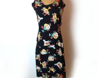 Vintage original 1990s black sixties pattern fruitbowl sleeveless midi dress with dipped hem