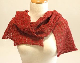 Shawl Scarf, Organic Cotton and Linen, Red