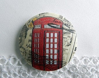 Fabric button, retro phone, 0.94 in / 24 mm