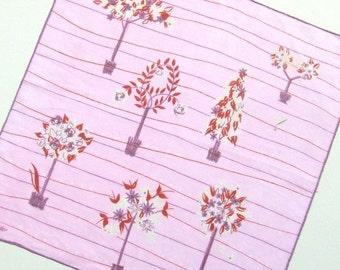 Jeanne Miller Pink Tree Vintage Hanky • Vintage Hanky •  Handkerchief •  Hanky • Hankies