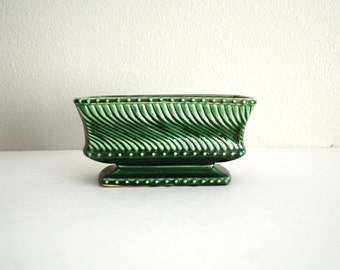 Vintage McCoy Dark Green Brush Pottery Planter