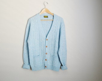 Vintage 60s 70s Light Blue Wool Cardigan Sweater // mens large