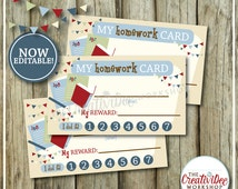 Homework Punch Cards | Schoolwork Punch Card | Editable Homework Card | Blue Theme | Printable Punch Card | Instant Download | NOW EDITABLE!