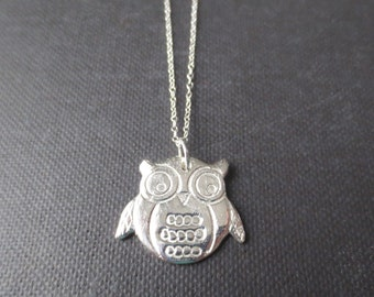 Hibou - Sterling Silver Owl Necklace Handmade Pure Silver Pendant on Sterling Silver Chain (Collier Oiseau / Eule Halskette) by InfinEight