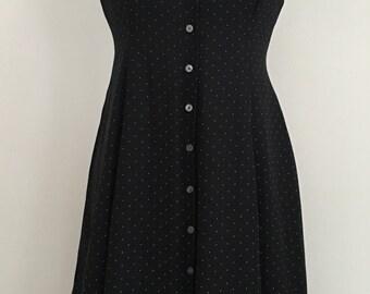 Women's Ralph Lauren black and white pola dot button down dress