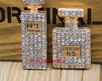 1pc cute studded rhinestones perfume bottle flatback 2styles golden