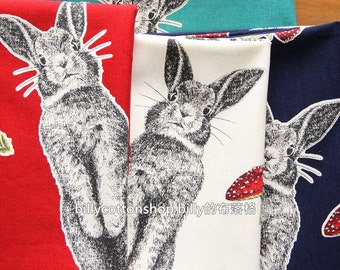 w744_55 - rabbits - cotton linen fabrics- Half Yard ( 4 color )