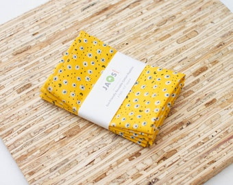 Small Organic Cloth Napkins - Set of 4 - (N2472s) - Yellow Small Florals Modern Reusable Fabric Napkins