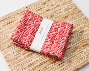 Large ORGANIC Cloth Napkins - Set of 4 - (N2796) - Flower Stalk Red Reusable Fabric Napkins