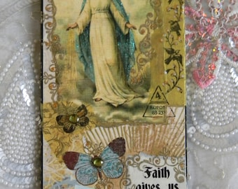 Faith Gives Us Wings Collage Decoupage Decorative Plaque Accent Wall Hanging