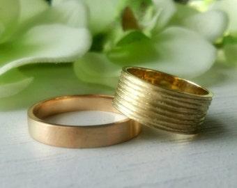 14k yellow gold wedding band, Her His wedding band, gold wedding band, diamond cut finish wedding band.