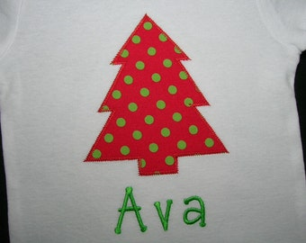 Baby Girls Christmas Outfit - Christmas Tree Personalized Name Baby Bodysuit - Red Green Polka Dot - Christmas Shirt - Boys Christmas Outfit