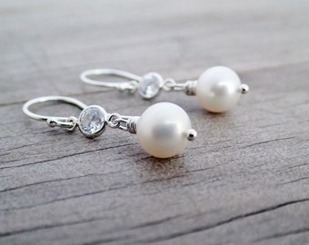 Freshwater Pearl and CZ Earrings, Argentium Sterling Silver French Hoops, Pearl Drop Earrings, Wedding Jewellery