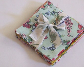 Floral and Fruit Prints, 48 Five Inch Precut Quilting Squares, Vintage and New Cotton Fabric