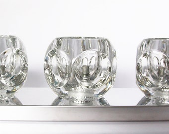 Mid Century  Rare German Cube Glass Ceiling 3 Lamps  - Peill & Putzler 70s