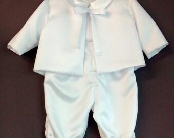 Boy's Formal Christening Romper, Jacket and Cap