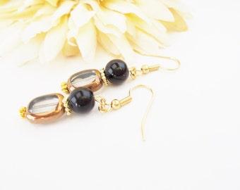 Copper Earrings, Black Drop Earrings, Czech Glass Earrings, Hypoallergenic, Clip On Earrings, Beaded Earrings, Nickel Free Earrings