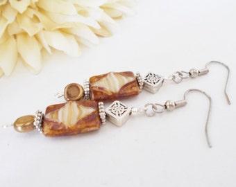 Boho Brown Earrings, Czech Glass Beaded Earrings, Womens Gift for Her, Clip On Earrings, Pewter Gypsy Dangle Earrings, Nickel Free Earrings