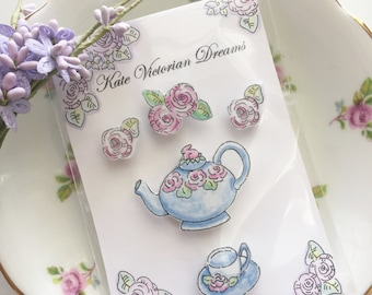 Five Magnets, Tea in the Garden, Teapot, Teacup, Roses, Cabbage Roses, Illustration, Art, Pen and Ink, Romance, Cottage Chic, Watercolors