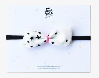 Stars Headband or Hair Clip - Nylon Bow Headband - Newborn Headband - One Size Headband