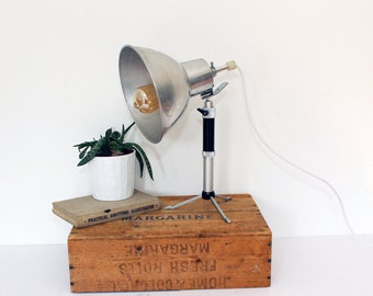 Vintage up-cycled Photographers Light on Tripod Stand - Desk Lamp - Industrial -