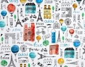 Multi Paris Adventure Toss premium cotton fabric - Timeless Treasures Paris Adventure Collection