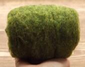 Moss Green Needle Felting Wool, Wool Batting, Batts, Fleece, Wet Felting, Spinning, Dyed Felting Wool, Grass Green, Fiber Art Supplies
