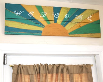 Reclaimed Wood Welcome Sign with Sunset Artwork - colors may vary slightly