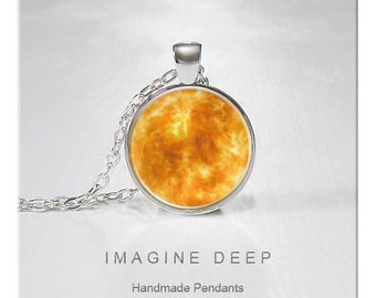 BUY 2 GET 1 FREE Sun Pendant Necklace Beautiful Sun Yellow Orange Star High Quality Handmade Silver Copper Pendant - Sun (084)