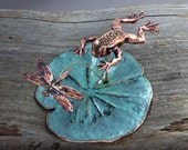 Spring Sale 10% Optimistic Leaping Frog & Dragonfly Sculpture - blue green copper patina