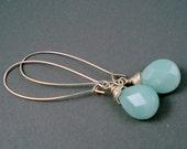 Amazonite Gemstone Earrings with Sterling Silver Very Long Kidney Wires Handmade Long Earrings