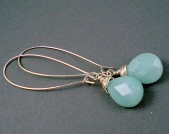 Amazonite Gemstone Earrings with Sterling Silver Very Long Kidney Wires Handmade Long Earrings