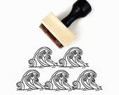 Waves Stamp - Ocean Waves Rubber Stamp - Hand Drawn Stamp by Creatiate