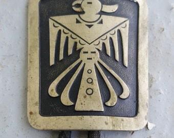 Vintage Bolo Tie Indian Southwestern Thunderbird Aztec Flat Metal