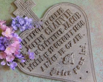 Antique French Metal Heart Plaque, French Heart, French Heart Plaque, Memorial Plaque, Commemorative Plaque, Metal Heart, Cemetery Plaque