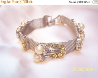 SALE Early Mesh Bracelet With Faux Pearls and Crystals