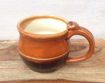 Handmade Coffee Mug, Pottery Mug, Brown and Tan Mug, Handmade Ceramic Cup, Pottery Gifts for Coffee Lovers
