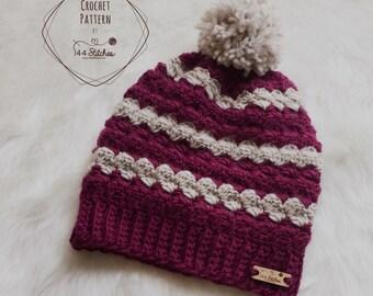 Twin Rivers Textured Beanie Pattern, Adult Beanie Hat Pattern Crochet PDF Download