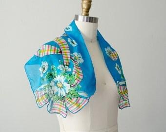 1940s vintage scarf / bright blue floral silk scarf / silk shawl