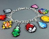 Pokemon Charm Bracelet - Kanto Badges Bracelet Kanto Bracelet Geeky Bracelet Nerdy Bracelet Geeky Gifts Video Game Jewelry Pokeball Bracelet