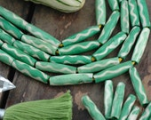 Pastel Green Wavy Barrel : Handmade Large Hole Bone Tube Beads, 6x25mm, Boho Craft Tribal Jewelry Making Supplies, Bohemian, hairpipe, 8 pcs