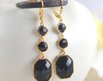 Long Gold and Jet Black Jewel Dangle Earrings.  Statement Earrings. Jewelry Gift for Her.  Free Shipping. Christmas Gift.  Holiday Jewelry.
