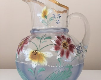 Antique Northwood Glass Pitcher Hand Painted Flowers