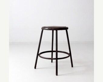 SALE vintage industrial stool, metal work stool