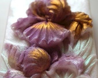 IRIS FLOWER SOAP, Flower Soap, Purple & Gold Iris Soap, For Mom, Mother's Day, Spring Soap, Hostess Gift, For Her, Custom Scented