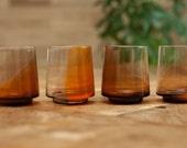 low baller whiskey set, hand blown saffron glass, set of 4