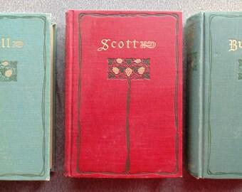 SCOTT'S LOWELL'S And BURN'S Poetical Works 3 Hardbound Books Sir Walter Scott James Russell Lowell & Robert Burns Very Nice Condition